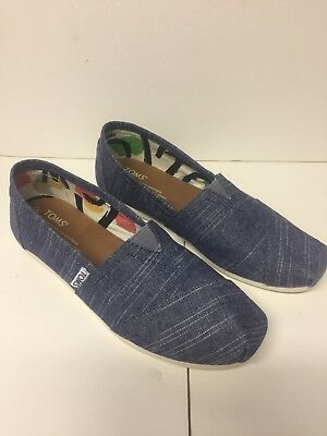 TOMS Womens Classic Canvas Slip-On Shoes - Blue Canvas Sz 7 New!