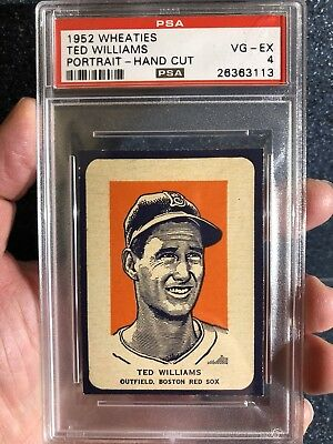 1952 Wheaties Ted Williams Portrait Hand Cut HOF PSA 4 - RARE POP 8 !! C/B 7 8 9