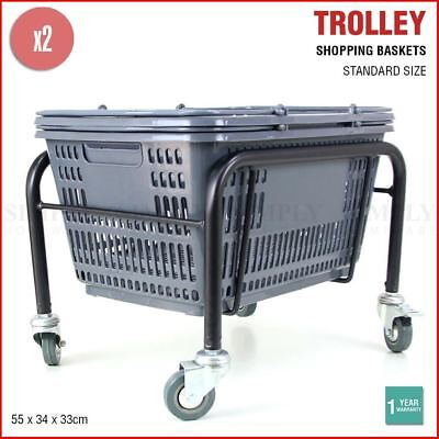 2x Shopping Baskets Holder Stand Trolley Grocery Business Supermarket Shop Black