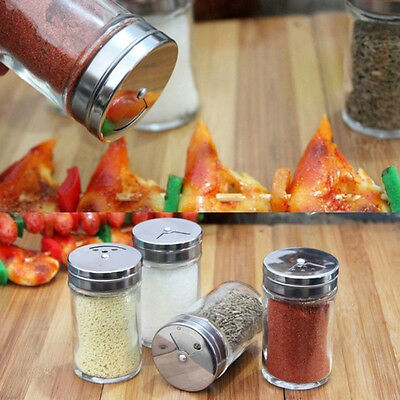 Multifunction Stainless Steel Rotate Silver Kitchen BBQ Spice Jars Cruet Tool