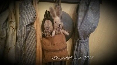 Primitive Rabbits in Feedsack Bag~Bunny~Spring