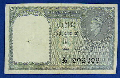 INDIA 1940 ONE RUPEE BANKNOTE, P25a