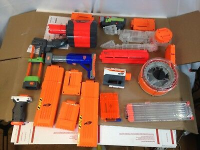 Lot Of Nerf Gun Attachments & Accessories Clips Magazines Grips Barrels ++