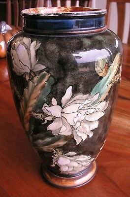 Antique Doulton Lambeth Faience 10.5 Inch Tall Vase 1878