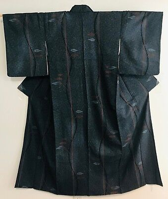 Vintage Dark Grey Color Kimono  Decorated with Leaves #316