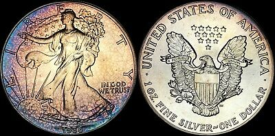 1986 SILVER AMERICAN EAGLE $1 DOLLAR BU 1st YEAR COIN TONED IN HIGH GRADE