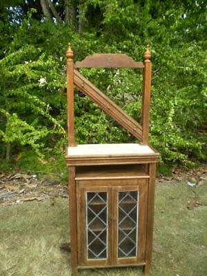 vintage hand made hall stand coat & hat rack, hooks 2 leadlight doors marble top