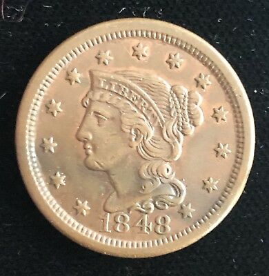 1848 Braided Hair Large Cent 1C - Rare Early Penny