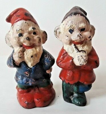 Pair! Antique Vintage Painted Cast Iron Garden Gnome Figurines NR