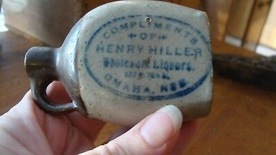 1900s Miniature Whiskey Advertising Crock Jug Henry Hiller Omaha NE LQQK