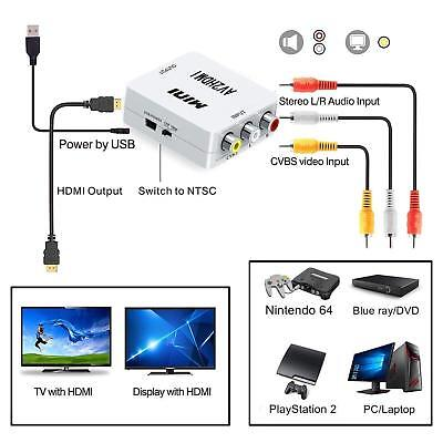 Composite AV CVBS 3RCA to HDMI Video Converter Adapter 720/1080p + HDMI Cable DT