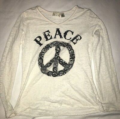 The Childrens Place Girls White Black Shirt Peace Symbol Size