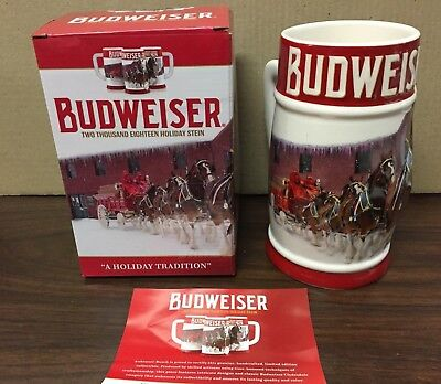 2018 Budweiser Holiday stein WITH FLAWS IN HANDLE beer mug from annual series