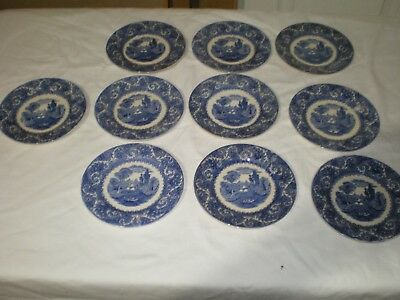 RARE 10 Early Antique Wedgwood Flow Blue Thames River Boat Bread Snack Plates