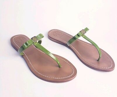 966b36c2f8d Tory Burch Leighanne Bow Green Leather Gold Logo flat Sandals Women s Shoes  8