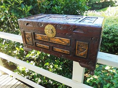 Large Vintage Hand Carved Dragon Foot Camphor Wood Box Chest Blankets Etc