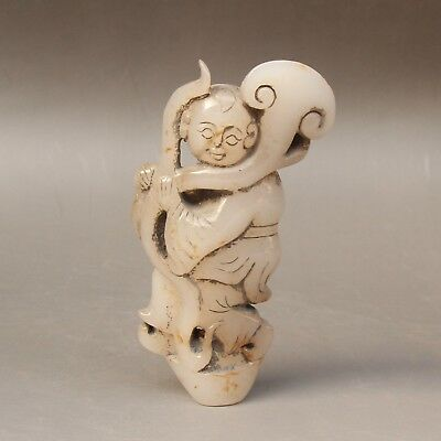 Chinese Exquisite Hand carved people Carving Hetian jade statue