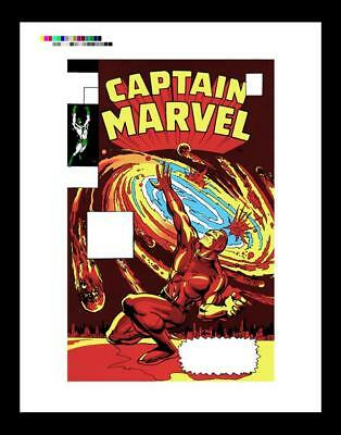 Marie Severin Captain Marvel #15 Rare Production Art Cover