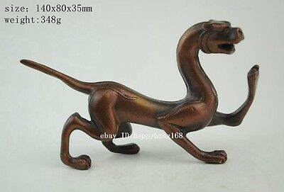 Chinese Myth Pure Purple copper Feng Shui Lucky God Beast Tiger Statue b02