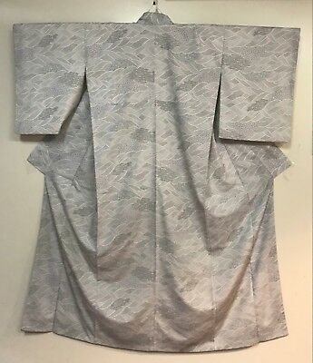 Vintage White Kimono  Decorated with Waves  #273