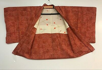 Vintage Orange Color Haori Decorated with Grain Pattern #275