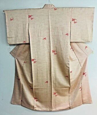 Vintage Whte Kimono  Decorated with Buterflies  #232