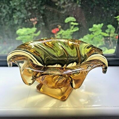 Vintage Art Deco Bagley Equinox Amber Glass Swirl Bowl 1930s Antique Collectable