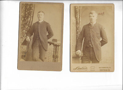 Pair of Antique Cabinet Cards Handsome Men Brothers? Father & Son? Unidentified