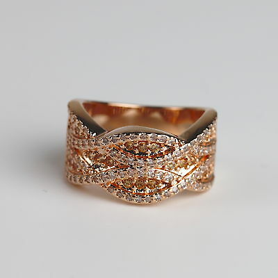Champagne CZ Rose Gold Plated Women Fashion Statement Ring Size 5 6 7 8 9 10 11