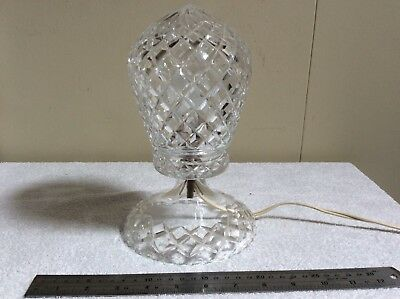 Vintage Art Deco Bohemian Cut Crystal Boudoir Table Lamp Working