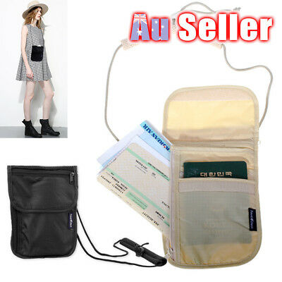 Secure Holster Bag Passport Ticket Travel Wallet Money Secret Card Neck Pouch