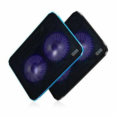 Double Cooling Fan LED Light Laptop Notebook Cooler Radiator Cooling Pad T9