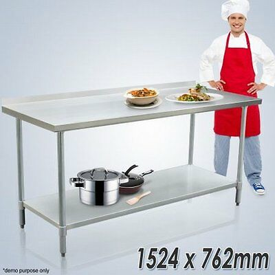 NEW 152x76cm Stainless Steel Kitchen Work Bench and Catering Food Prep Table