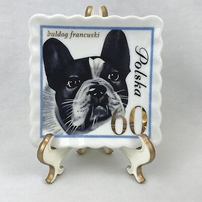 Doghaus Dog 60 Cent Stamp Catch All Pin Dish 4x4 Frenchie French Bulldog