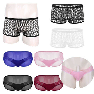 Men Lingerie Breathable Mesh See Through Sheer G-String Boxer Briefs Underwear