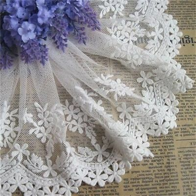 1 yd Floral Tulle Lace Edge Trim Embroidered Mesh Wedding Dress Sewing Craft