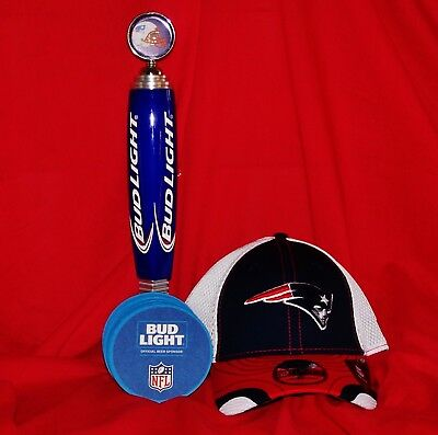 NEW BUD LIGHT BUDWEISER NEW ENGLAND PATRIOTS TAP HANDLE w/STAND CAP & COASTERS!!
