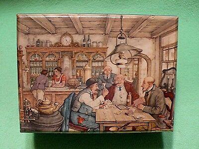 Vintage Dutch Artist ANTON PIECK woodenware box with scene of MEN PLAYING CARDS.