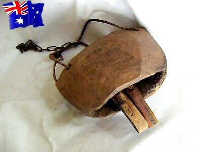 wooden COW BELL twin clappers hand carved single piece of timber vintage antique
