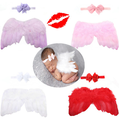 Newborn Baby Girl Boy Photography Wing+Flower Headband Costume Prop Outfit MK7