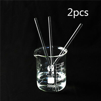 2pc 200mm x 5mm Glass Stirring Rod for Lab Use Stir Stirring Stirrer Laboratory
