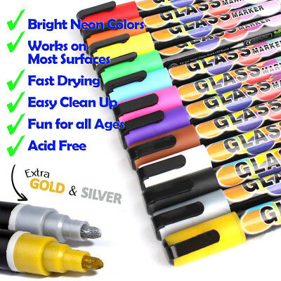 Glass Metal Mirror Wood Chalk Whiteboard Painting Colorful Marker Pen 12 Colors