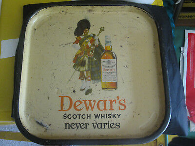 Vintage Dewers Scotch Whisky Metal Bar Serving Tray