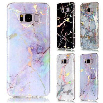 For Samsung Galaxy S8 S9 A6 J4 2018 S7 Art Laser Marble Glossy Rubber Case Cover
