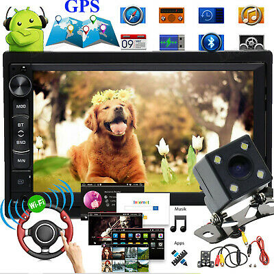 "2 DIN 7"" Car Radio Stereo MP5 Player Android AM/FM GPS Nav WIFI + Backup Camera"