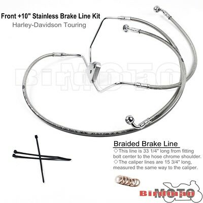 """Front +10"""" Silver Braided Steel Brake Pipe Line Kit Fit Harley Touring No ABS"""
