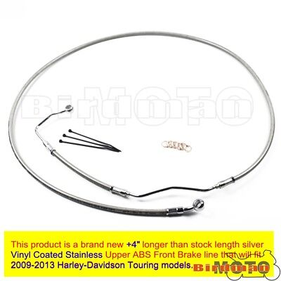 "Silver +4"" Stainless Upper Front Brake Pipe Line Cable Kit For Harley Touring"