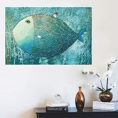 Cartoon Super Fish Little House Canvas Poster Art Print Modern Home Wall Decor