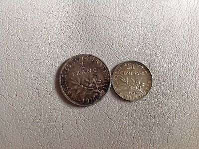 France Silver Coin 1 Franc 1916 & 50 Centimes 1909