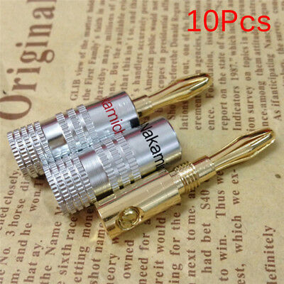 10Pcs Nakamichi Gold Plated Copper Speaker Banana Plug Male Connector FG